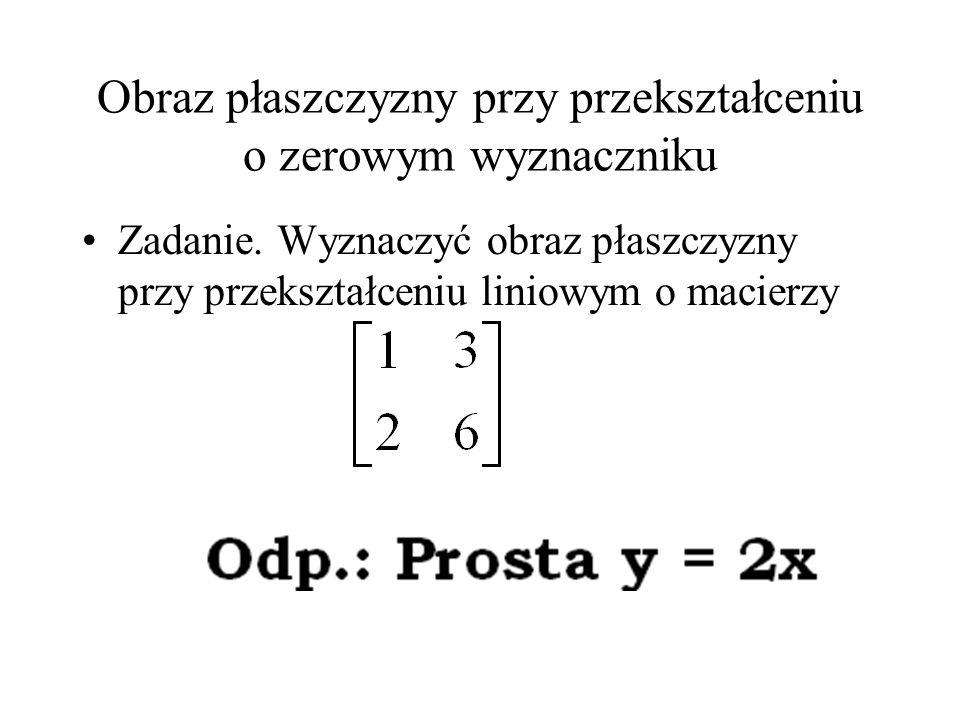 Obraz płaszczyzny przy przekształceniu o zerowym wyznaczniku Zadanie. Wyznaczyć obraz płaszczyzny przy przekształceniu liniowym o macierzy