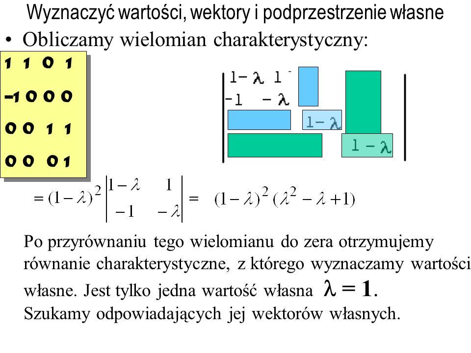 Wyznaczyć wartości, wektory i podprzestrzenie własne Obliczamy wielomian charakterystyczny: Po przyrównaniu tego wielomianu do zera otrzymujemy równanie charakterystyczne, z którego wyznaczamy wartości własne.