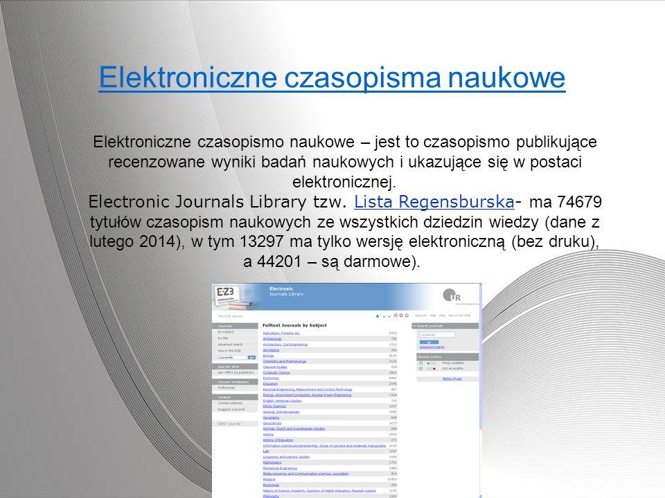 Elektroniczne czasopisma naukowe Elektroniczne czasopismo naukowe – jest to czasopismo publikujące recenzowane wyniki badań naukowych i ukazujące się