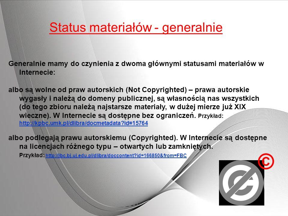 Status materiałów - generalnie Generalnie mamy do czynienia z dwoma głównymi statusami materiałów w Internecie: albo są wolne od praw autorskich (Not