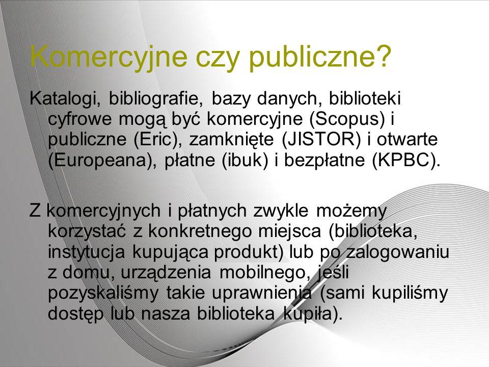 Komercyjne czy publiczne? Katalogi, bibliografie, bazy danych, biblioteki cyfrowe mogą być komercyjne (Scopus) i publiczne (Eric), zamknięte (JISTOR)