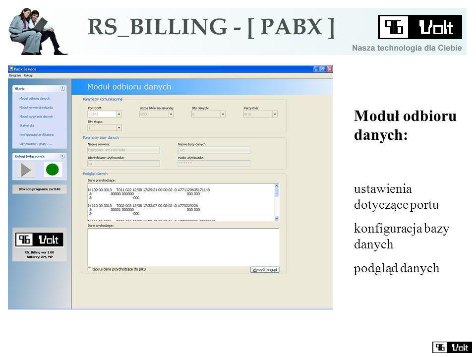 Moduł odbioru danych: ustawienia dotyczące portu konfiguracja bazy danych podgląd danych