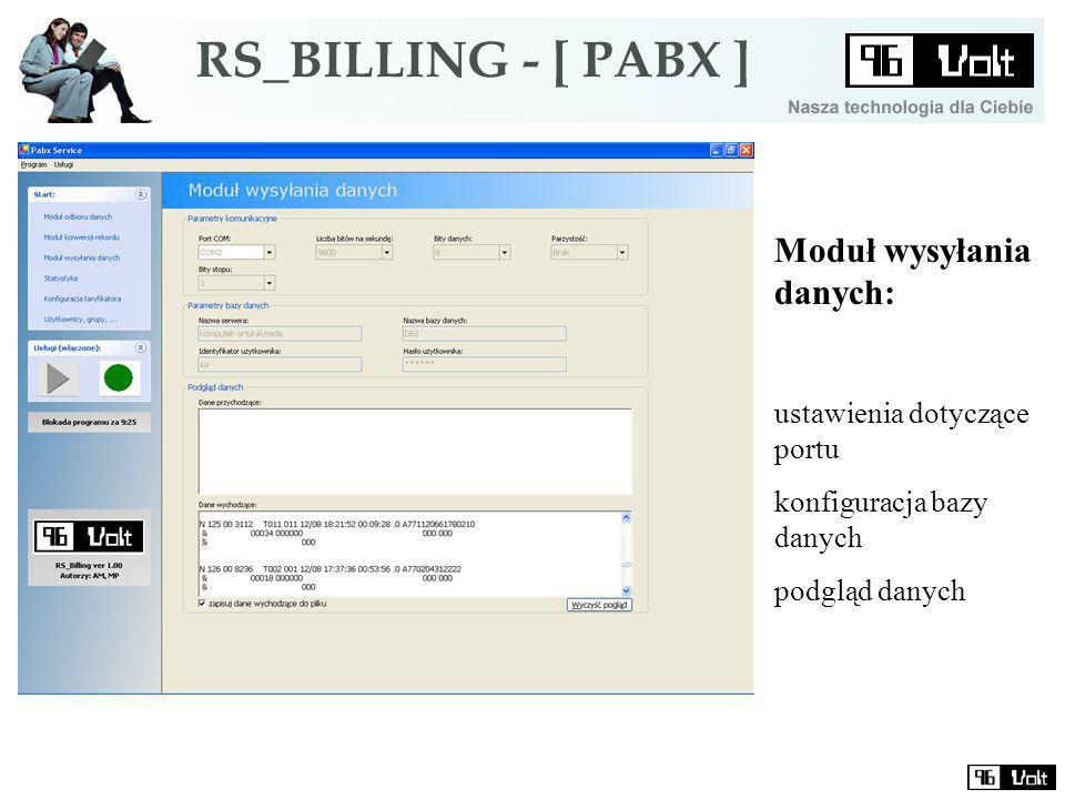 Moduł wysyłania danych: ustawienia dotyczące portu konfiguracja bazy danych podgląd danych