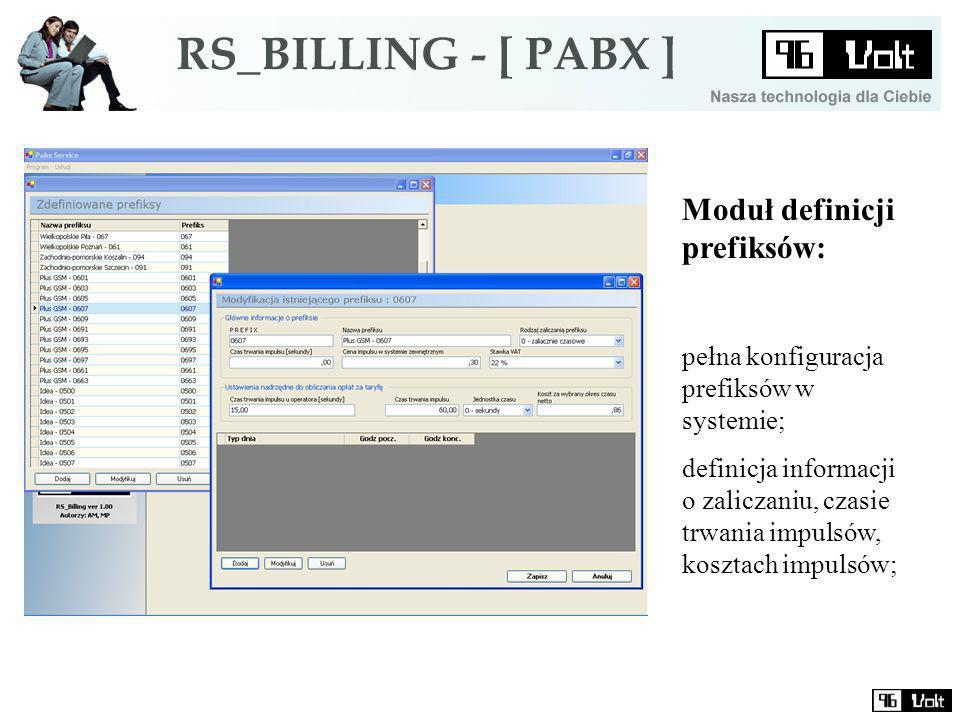 Moduł definicji prefiksów: pełna konfiguracja prefiksów w systemie; definicja informacji o zaliczaniu, czasie trwania impulsów, kosztach impulsów;