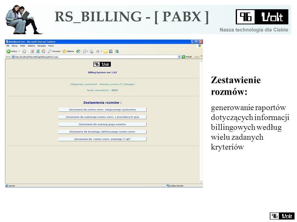 Zestawienie rozmów: generowanie raportów dotyczących informacji billingowych według wielu zadanych kryteriów