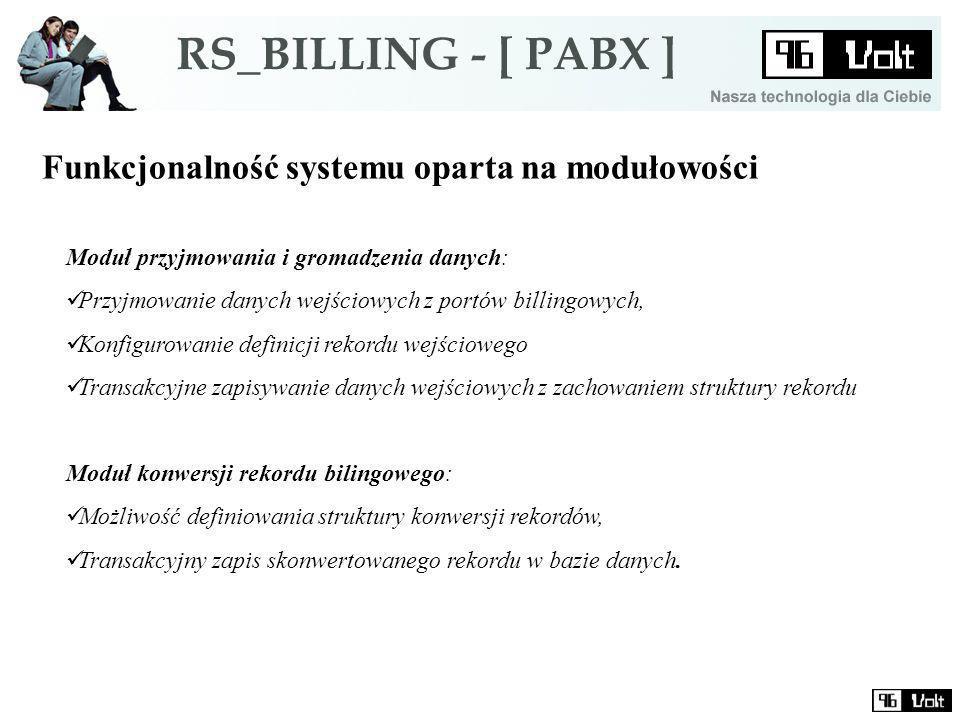 Funkcjonalność systemu oparta na modułowości Moduł przyjmowania i gromadzenia danych: Przyjmowanie danych wejściowych z portów billingowych, Konfigurowanie definicji rekordu wejściowego Transakcyjne zapisywanie danych wejściowych z zachowaniem struktury rekordu Moduł konwersji rekordu bilingowego: Możliwość definiowania struktury konwersji rekordów, Transakcyjny zapis skonwertowanego rekordu w bazie danych.
