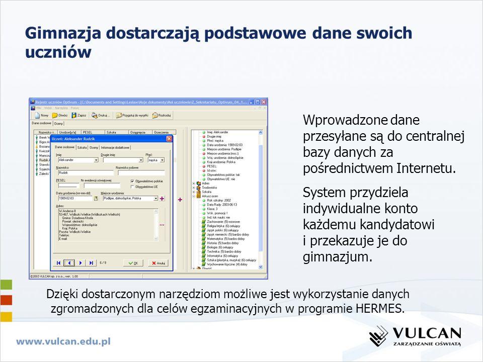 Gimnazja dostarczają podstawowe dane swoich uczniów Wprowadzone dane przesyłane są do centralnej bazy danych za pośrednictwem Internetu. System przydz