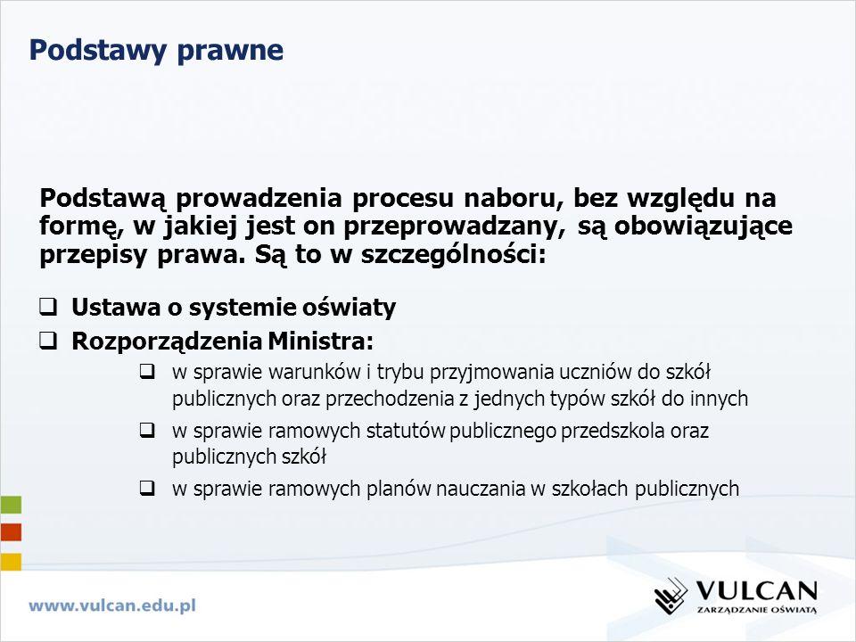 Podstawy prawne Ustawa o systemie oświaty Rozporządzenia Ministra: w sprawie warunków i trybu przyjmowania uczniów do szkół publicznych oraz przechodz