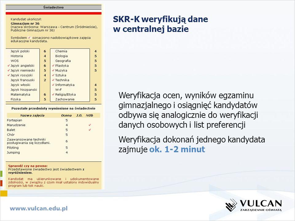 SKR-K weryfikują dane w centralnej bazie Weryfikacja ocen, wyników egzaminu gimnazjalnego i osiągnięć kandydatów odbywa się analogicznie do weryfikacj