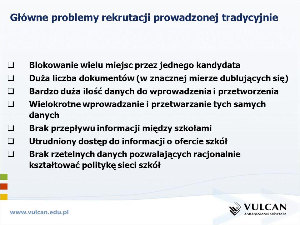 Główne problemy rekrutacji prowadzonej tradycyjnie Blokowanie wielu miejsc przez jednego kandydata Duża liczba dokumentów (w znacznej mierze dublujący