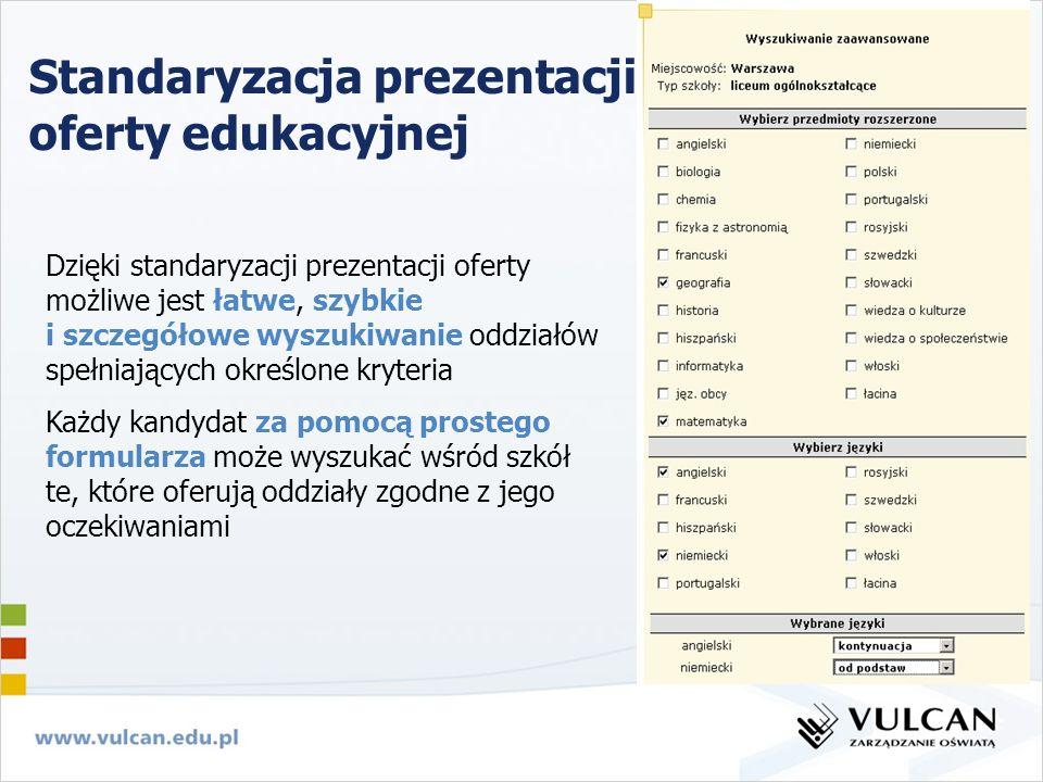 Standaryzacja prezentacji oferty edukacyjnej Dzięki standaryzacji prezentacji oferty możliwe jest łatwe, szybkie i szczegółowe wyszukiwanie oddziałów