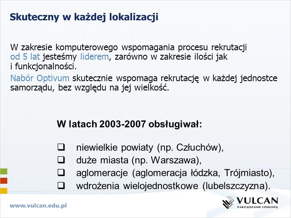 Skuteczny w każdej lokalizacji W latach 2003-2007 obsługiwał: niewielkie powiaty (np. Człuchów), duże miasta (np. Warszawa), aglomeracje (aglomeracja
