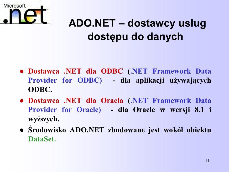 11 ADO.NET – dostawcy usług dostępu do danych Dostawca.NET dla ODBC (.NET Framework Data Provider for ODBC) - dla aplikacji używających ODBC. Dostawca