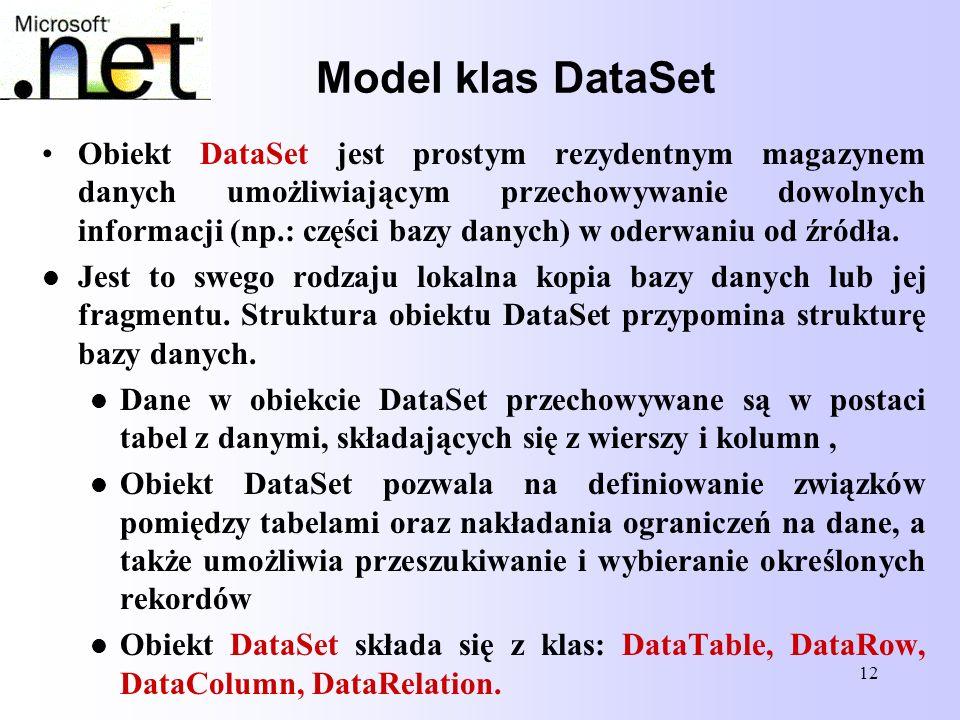 12 Model klas DataSet Obiekt DataSet jest prostym rezydentnym magazynem danych umożliwiającym przechowywanie dowolnych informacji (np.: części bazy da
