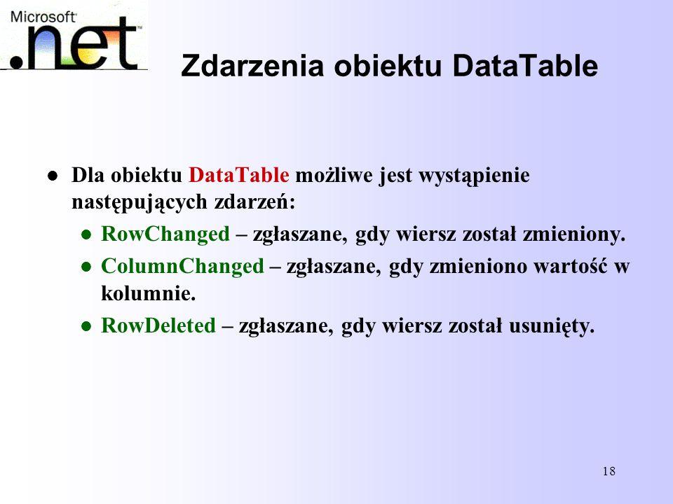 18 Zdarzenia obiektu DataTable Dla obiektu DataTable możliwe jest wystąpienie następujących zdarzeń: RowChanged – zgłaszane, gdy wiersz został zmienio