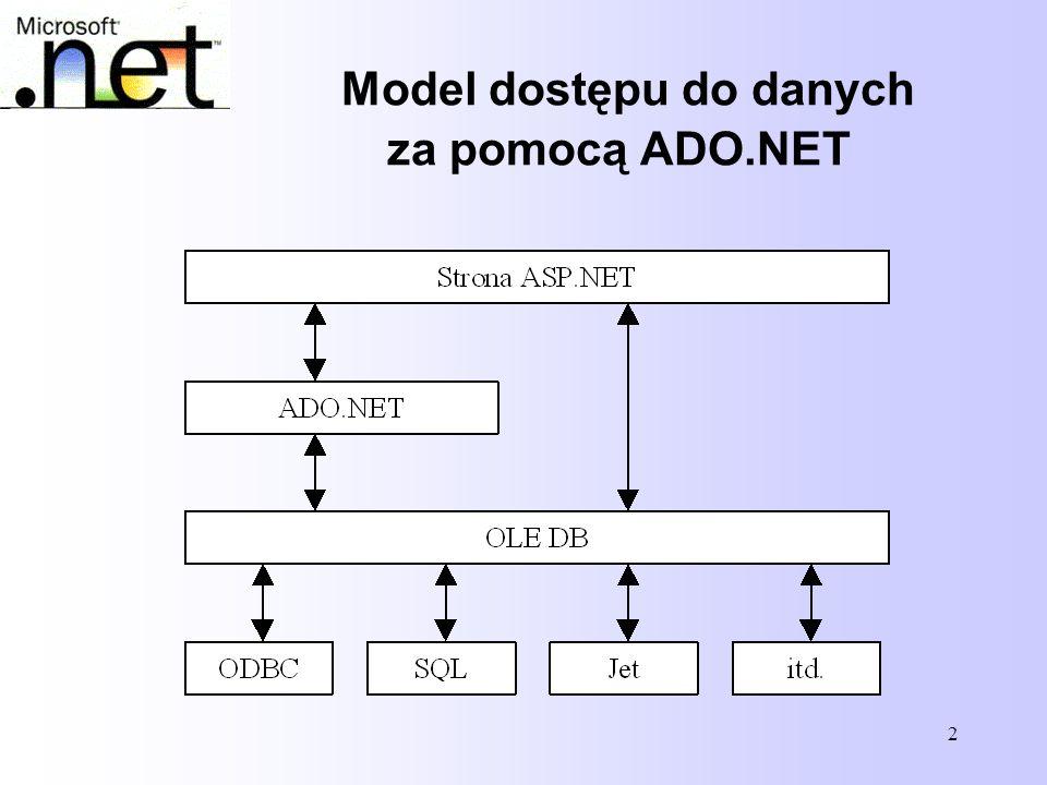53 Połączenie z innymi źródłami danych W.NET Framework Data Provider for OLE DB połączenie uzyskuje się poprzez obiekt OleDbConnection, OleDbConnection Con = new OleDbConnection( Provider=SQLOLEDB;Data Source=localhost; + Integrated Security=SSPI;Initial Catalog=northwind ); nwindConn.Open();.NET Framework Data Provider for ODBC do tworzenia połaczeń korzysta z OdbcConnection OdbcConnection Con = new OdbcConnection( Driver={SQL Server};Server=localhost; + Trusted_Connection=yes;Database=northwind ); Con.Open();