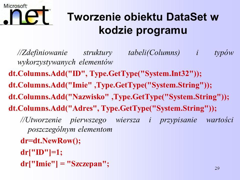 29 Tworzenie obiektu DataSet w kodzie programu //Zdefiniowanie struktury tabeli(Columns) i typów wykorzystywanych elementów dt.Columns.Add(