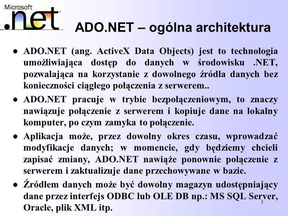 14 Model klas DataSet Obiekt DataSet reprezentuje bufor danych w pamięci i jest podstawowym obiektem przekazywanym pomiędzy warstwą środkową a aplikacją kliencką.