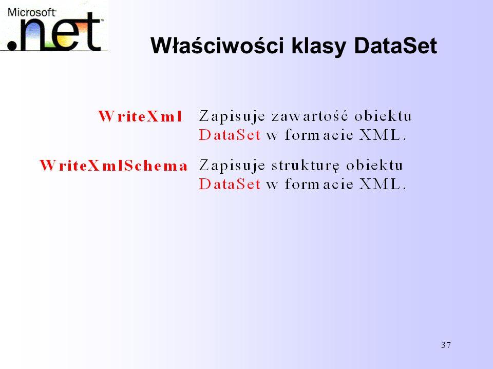 37 Właściwości klasy DataSet