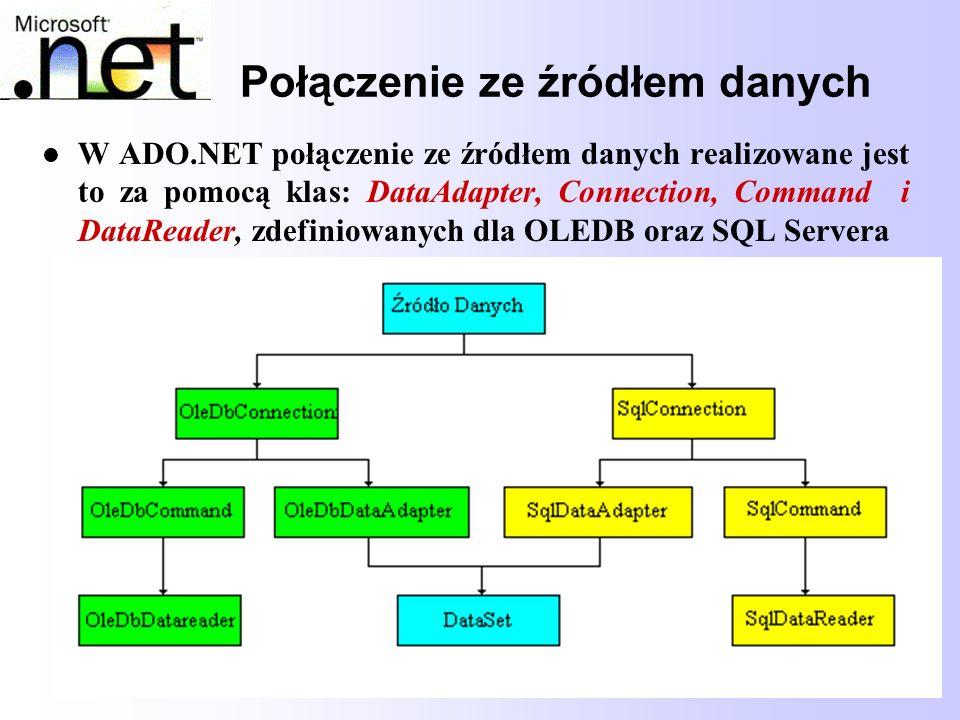 39 Połączenie ze źródłem danych W ADO.NET połączenie ze źródłem danych realizowane jest to za pomocą klas: DataAdapter, Connection, Command i DataRead