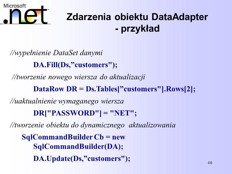46 //wypełnienie DataSet danymi DA.Fill(Ds,customers