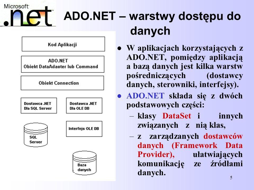 5 ADO.NET – warstwy dostępu do danych W aplikacjach korzystających z ADO.NET, pomiędzy aplikacją a bazą danych jest kilka warstw pośredniczących (dost