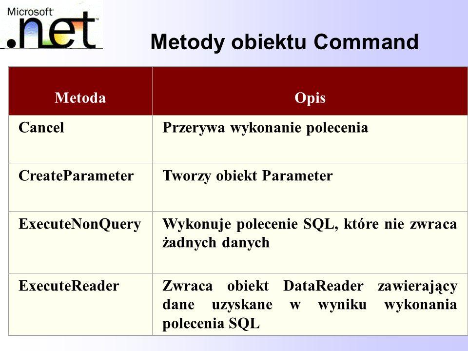 62 Metody obiektu Command MetodaOpis CancelPrzerywa wykonanie polecenia CreateParameterTworzy obiekt Parameter ExecuteNonQueryWykonuje polecenie SQL,