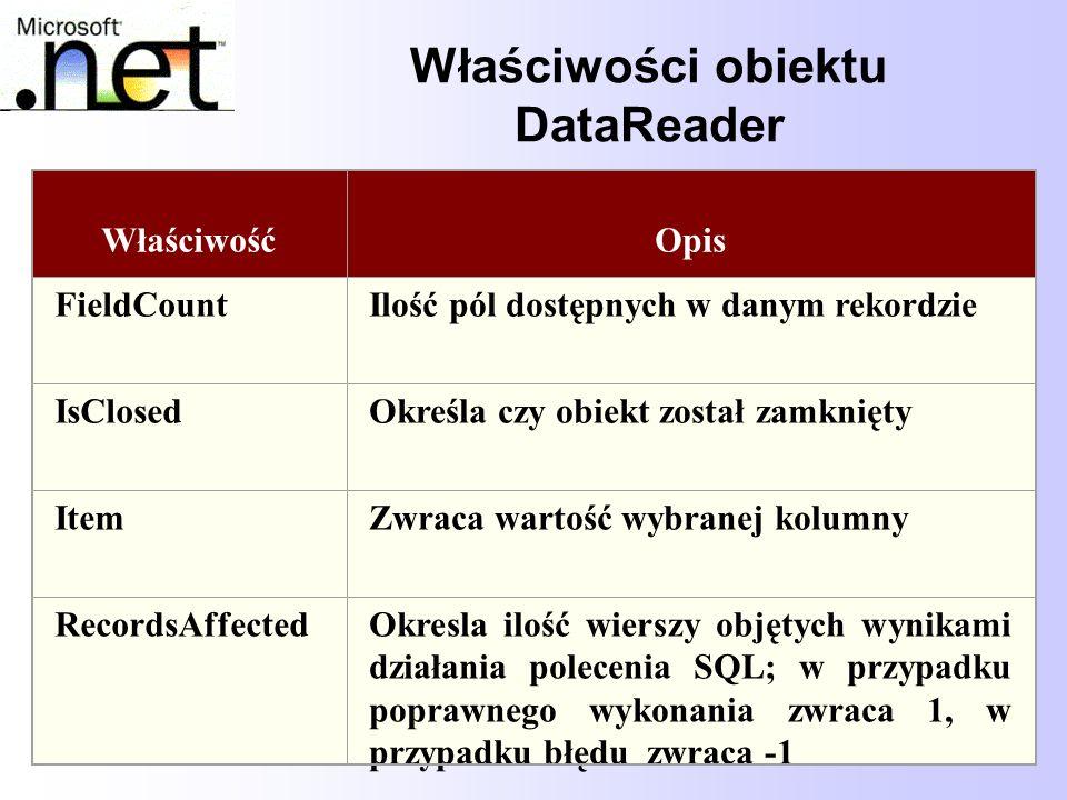 67 Właściwości obiektu DataReader WłaściwośćOpis FieldCountIlość pól dostępnych w danym rekordzie IsClosedOkreśla czy obiekt został zamknięty ItemZwra