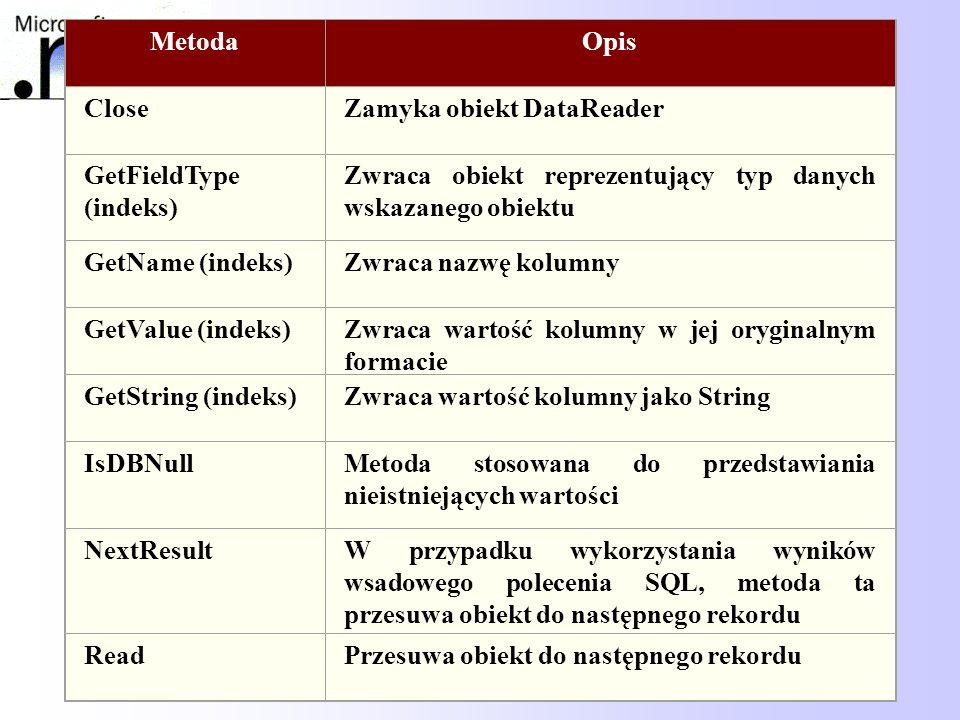 68 MetodaOpis CloseZamyka obiekt DataReader GetFieldType (indeks) Zwraca obiekt reprezentujący typ danych wskazanego obiektu GetName (indeks)Zwraca na