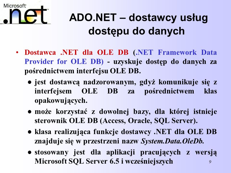 90 Private dbTemp As New SqlClient.SqlConnection Private dbTemp As New SqlClient.SqlConnection Private trTemp As System.Data.SqlClient.SqlTransaction Private trTemp As System.Data.SqlClient.SqlTransaction Private cmdTemp As New SqlClient.SqlCommand Private cmdTemp As New SqlClient.SqlCommand Private bTran As Boolean Private bTran As Boolean Private Sub btCalTran_Click(ByVal sender As System.Object, _ Private Sub btCalTran_Click(ByVal sender As System.Object, _ ByVal e As System.EventArgs) Handles btCalTran.Click ByVal e As System.EventArgs) Handles btCalTran.Click Try Try dbTemp.ConnectionString = txtConnStr.Text dbTemp.ConnectionString = txtConnStr.Text dbTemp.Open() dbTemp.Open() trTemp = dbTemp.BeginTransaction() trTemp = dbTemp.BeginTransaction() Rozpoczęcie transakcji bTran = True bTran = True cmdTemp.Connection = dbTemp cmdTemp.Connection = dbTemp cmdTemp.Transaction = trTemp cmdTemp.Transaction = trTemp cmdTemp.CommandText = txtKom1.Text cmdTemp.CommandText = txtKom1.Text Wykonujemy komendycmdTemp.ExecuteNonQuery()