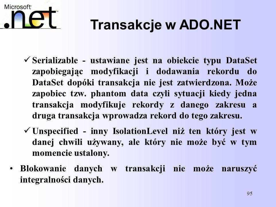 95 Transakcje w ADO.NET Serializable - ustawiane jest na obiekcie typu DataSet zapobiegając modyfikacji i dodawania rekordu do DataSet dopóki transakc