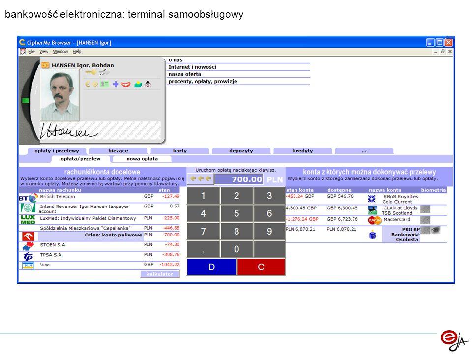 bankowość elektroniczna: terminal samoobsługowy