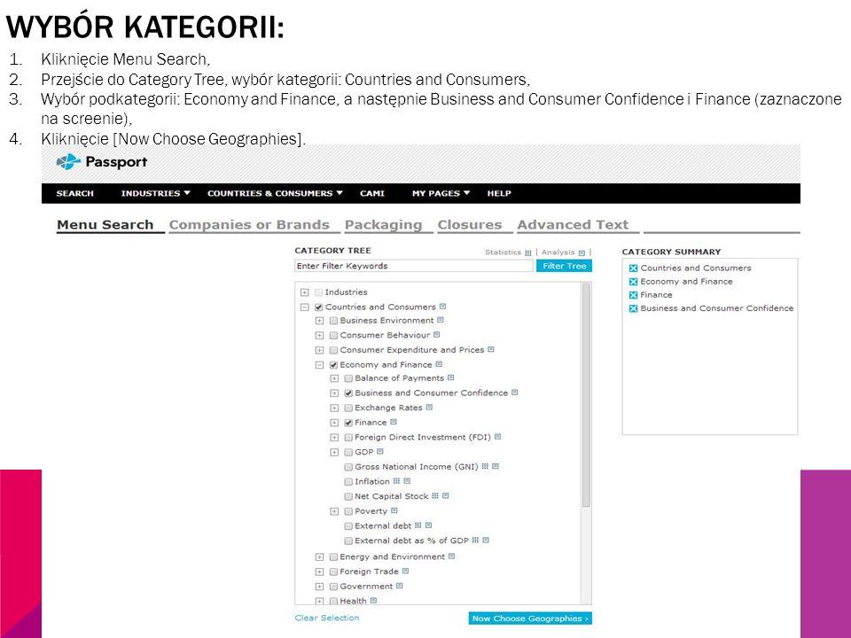 WYBÓR KATEGORII: 1.Kliknięcie Menu Search, 2.Przejście do Category Tree, wybór kategorii: Countries and Consumers, 3.Wybór podkategorii: Economy and F