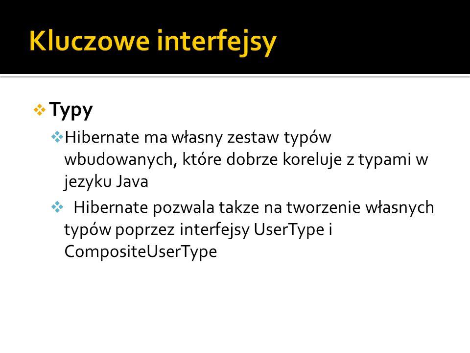 Typy Hibernate ma własny zestaw typów wbudowanych, które dobrze koreluje z typami w jezyku Java Hibernate pozwala takze na tworzenie własnych typów poprzez interfejsy UserType i CompositeUserType