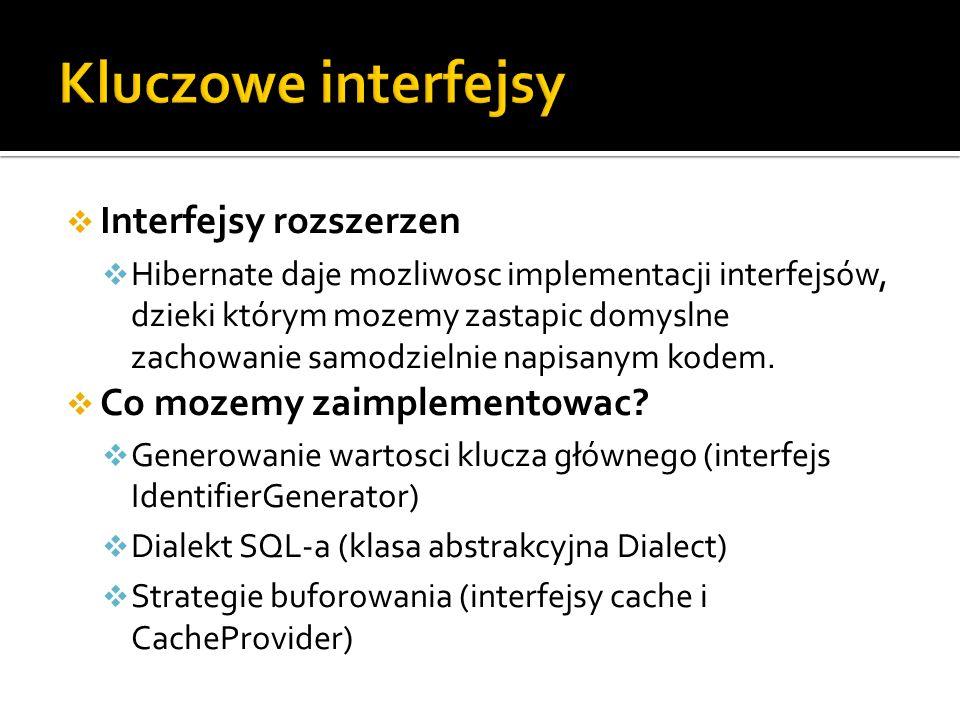 Interfejsy rozszerzen Hibernate daje mozliwosc implementacji interfejsów, dzieki którym mozemy zastapic domyslne zachowanie samodzielnie napisanym kod