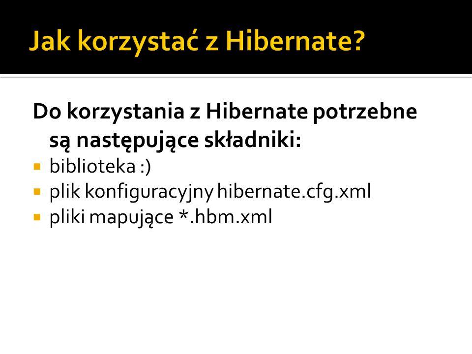 Do korzystania z Hibernate potrzebne są następujące składniki: biblioteka :) plik konfiguracyjny hibernate.cfg.xml pliki mapujące *.hbm.xml