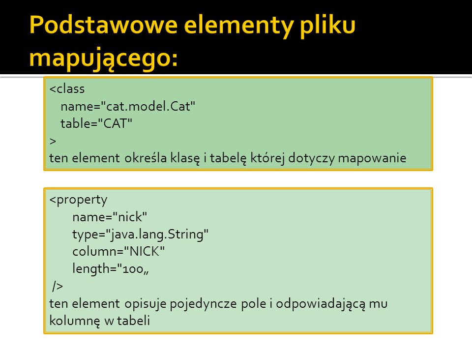 <class name= cat.model.Cat table= CAT > ten element określa klasę i tabelę której dotyczy mapowanie <property name= nick type= java.lang.String column= NICK length= 100 /> ten element opisuje pojedyncze pole i odpowiadającą mu kolumnę w tabeli