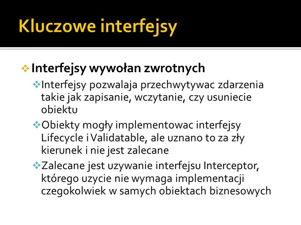 Interfejsy wywołan zwrotnych Interfejsy pozwalaja przechwytywac zdarzenia takie jak zapisanie, wczytanie, czy usuniecie obiektu Obiekty mogły implementowac interfejsy Lifecycle i Validatable, ale uznano to za zły kierunek i nie jest zalecane Zalecane jest uzywanie interfejsu Interceptor, którego uzycie nie wymaga implementacji czegokolwiek w samych obiektach biznesowych