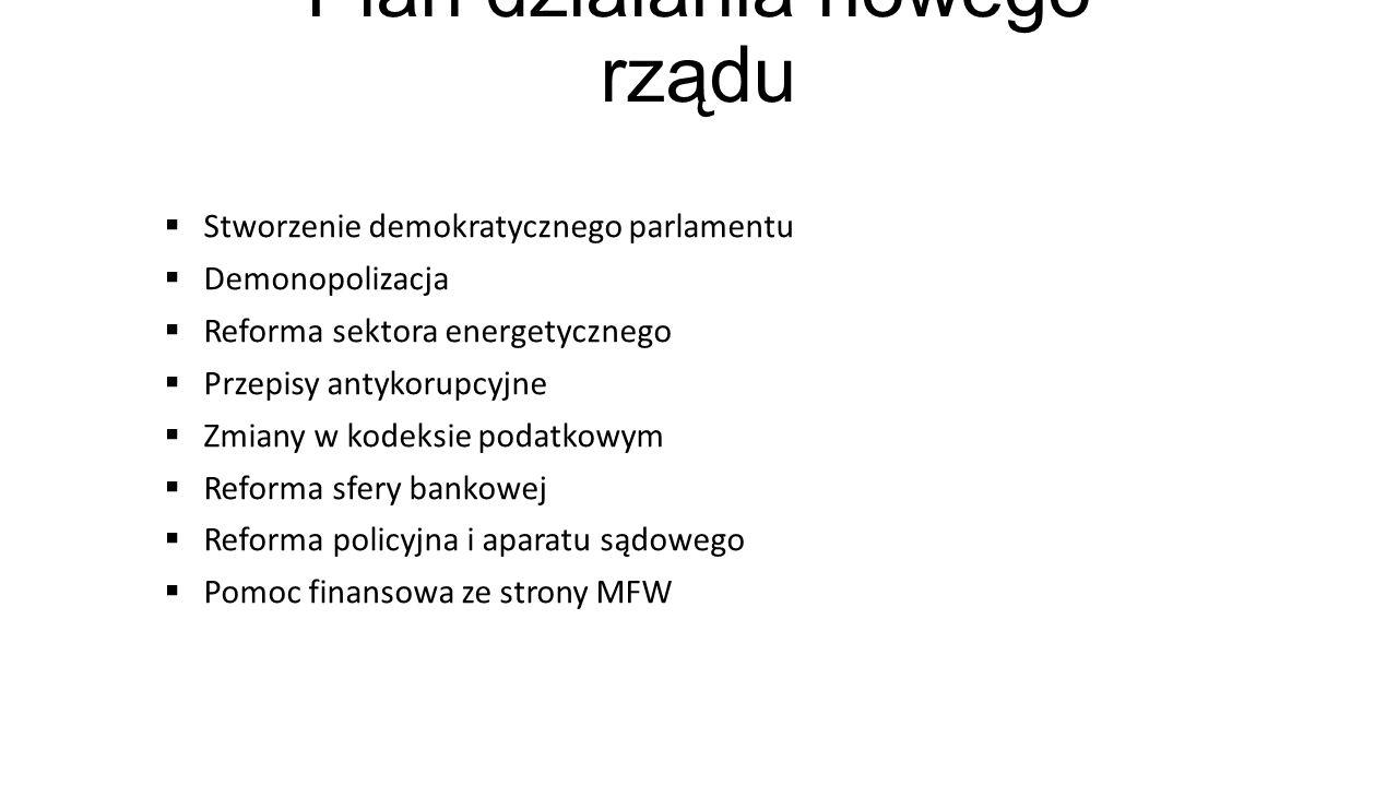 Plan działania nowego rządu Stworzenie demokratycznego parlamentu Demonopolizacja Reforma sektora energetycznego Przepisy antykorupcyjne Zmiany w kode