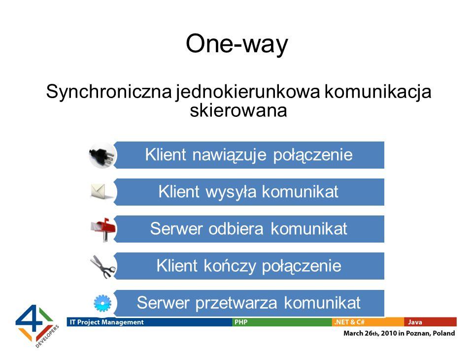 One-way Synchroniczna jednokierunkowa komunikacja skierowana Klient nawiązuje połączenie Klient wysyła komunikat Serwer odbiera komunikat Klient kończ