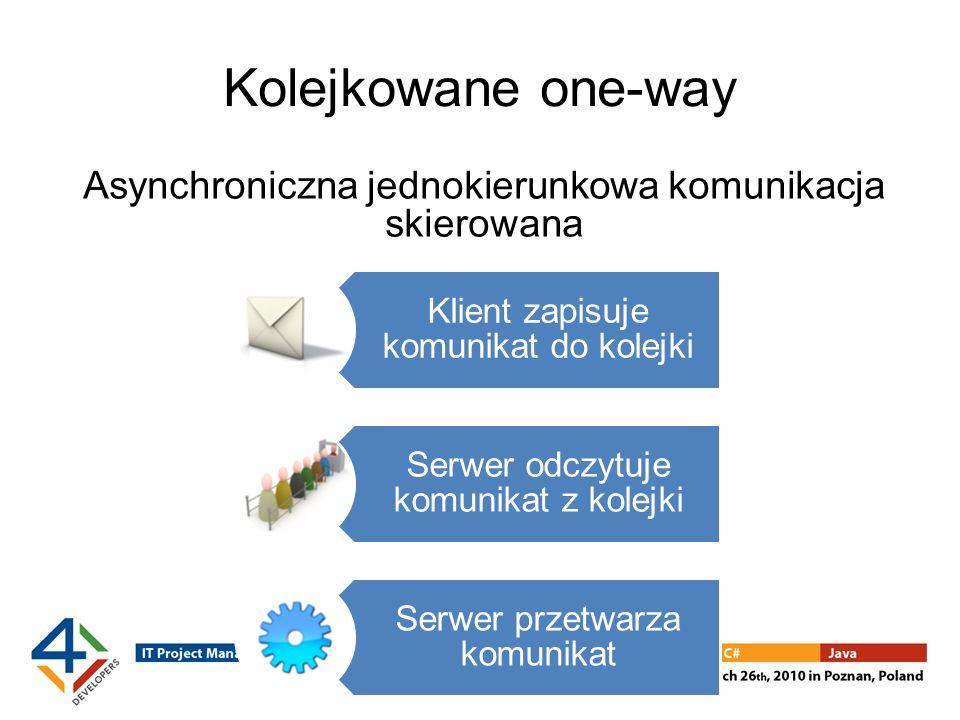 Kolejkowane one-way Asynchroniczna jednokierunkowa komunikacja skierowana Klient zapisuje komunikat do kolejki Serwer odczytuje komunikat z kolejki Serwer przetwarza komunikat
