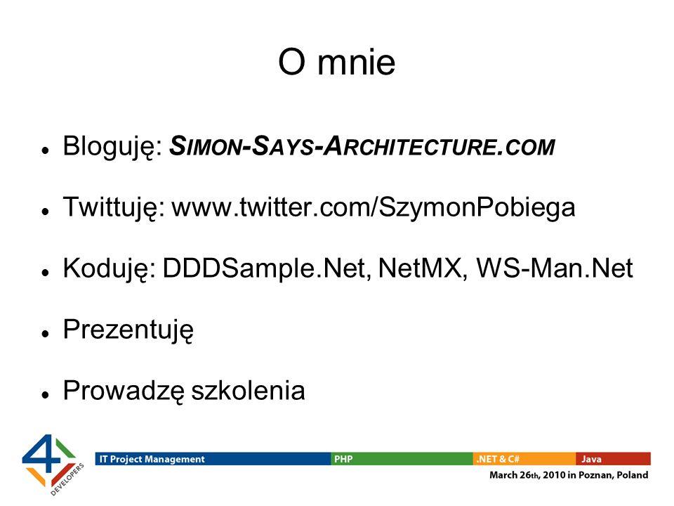 O mnie Bloguję: S IMON -S AYS -A RCHITECTURE. COM Twittuję: www.twitter.com/SzymonPobiega Koduję: DDDSample.Net, NetMX, WS-Man.Net Prezentuję Prowadzę