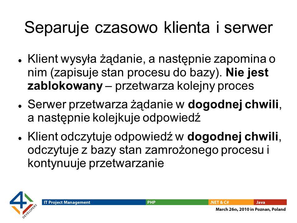 Separuje czasowo klienta i serwer Klient wysyła żądanie, a następnie zapomina o nim (zapisuje stan procesu do bazy).