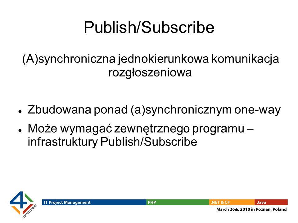 Publish/Subscribe (A)synchroniczna jednokierunkowa komunikacja rozgłoszeniowa Zbudowana ponad (a)synchronicznym one-way Może wymagać zewnętrznego programu – infrastruktury Publish/Subscribe