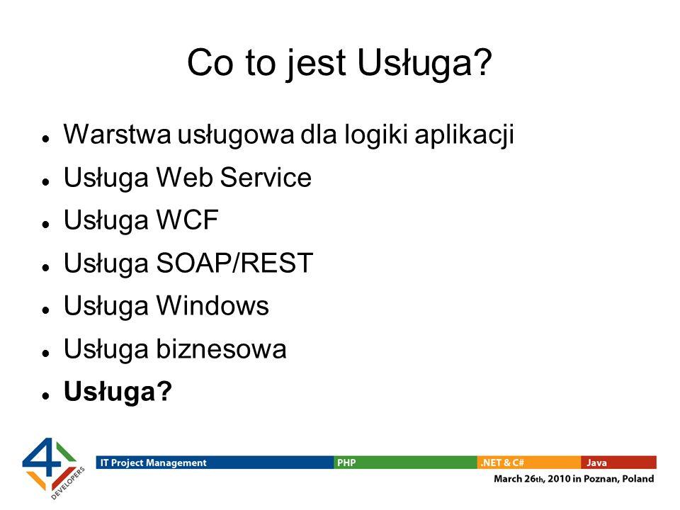 Co to jest Usługa? Warstwa usługowa dla logiki aplikacji Usługa Web Service Usługa WCF Usługa SOAP/REST Usługa Windows Usługa biznesowa Usługa?