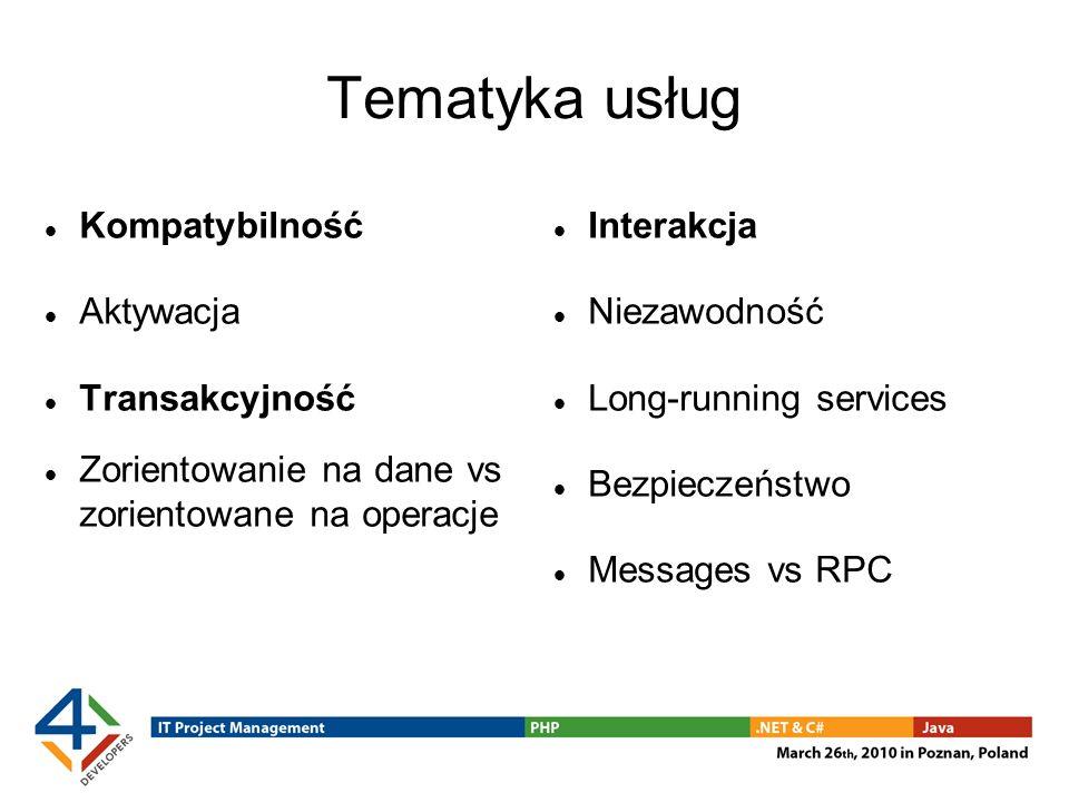 Tematyka usług Kompatybilność Aktywacja Transakcyjność Zorientowanie na dane vs zorientowane na operacje Interakcja Niezawodność Long-running services Bezpieczeństwo Messages vs RPC