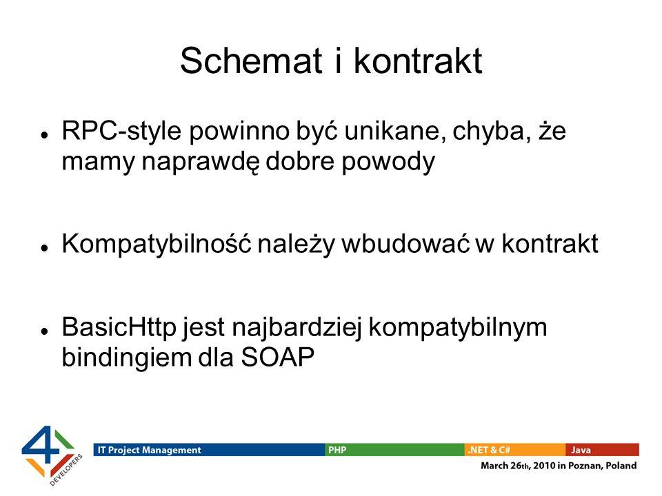 Schemat i kontrakt RPC-style powinno być unikane, chyba, że mamy naprawdę dobre powody Kompatybilność należy wbudować w kontrakt BasicHttp jest najbardziej kompatybilnym bindingiem dla SOAP