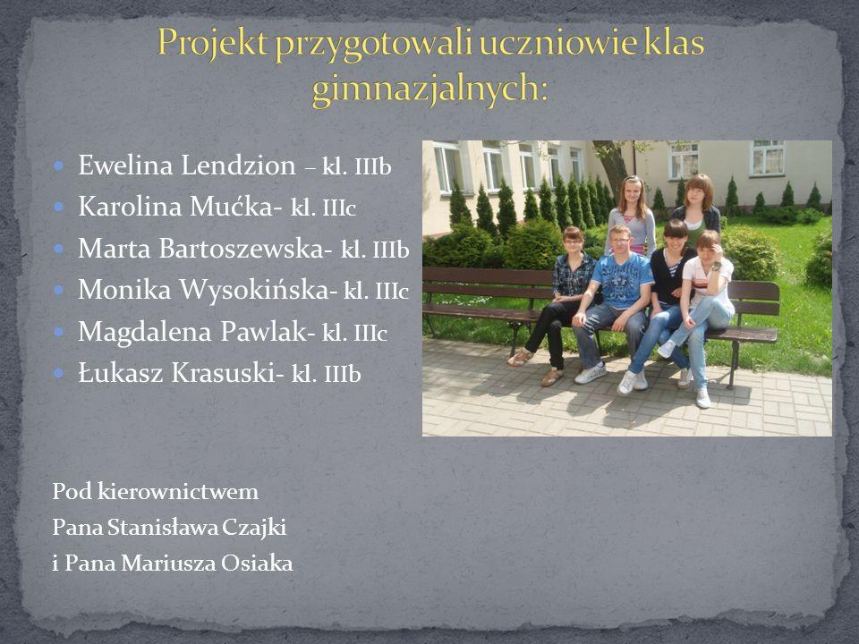 Ewelina Lendzion – kl. IIIb Karolina Mućka- kl. IIIc Marta Bartoszewska - kl. IIIb Monika Wysokińska - kl. IIIc Magdalena Pawlak - kl. IIIc Łukasz Kra