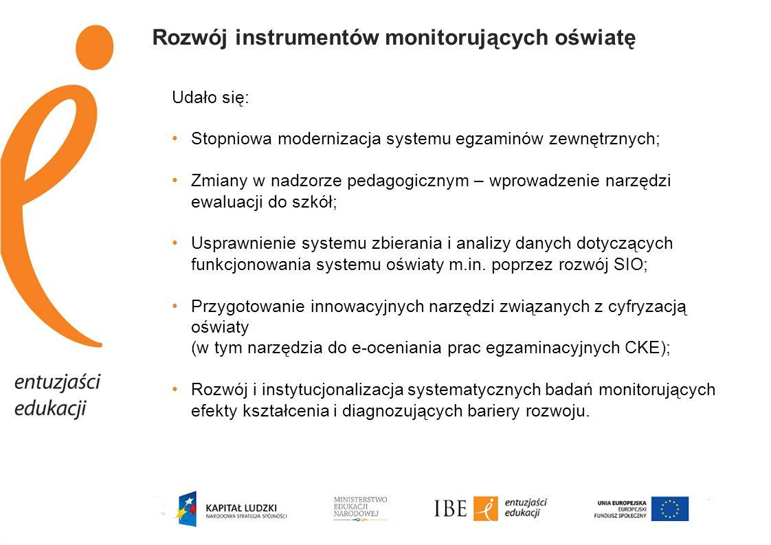 Rozwój instrumentów monitorujących oświatę Udało się: Stopniowa modernizacja systemu egzaminów zewnętrznych; Zmiany w nadzorze pedagogicznym – wprowad