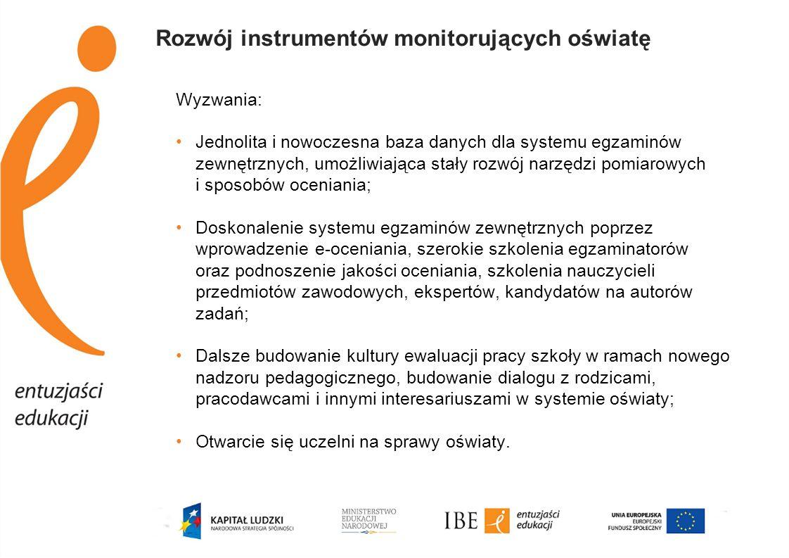 Rozwój instrumentów monitorujących oświatę Wyzwania: Jednolita i nowoczesna baza danych dla systemu egzaminów zewnętrznych, umożliwiająca stały rozwój